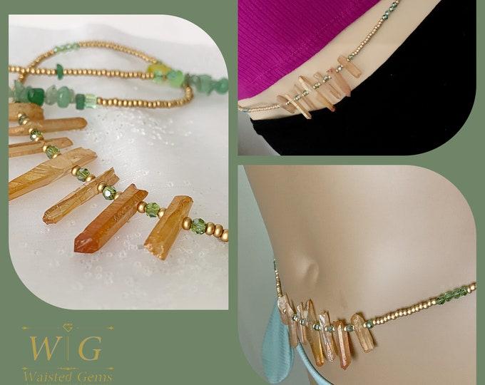 No Limits ~ Waist Beads, Tangerine Quartz Waist Beads, African Inspired Waist Beads,Waist Chain, Crystal Waist Beads, Grey Waist Beads