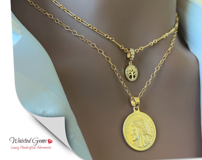14k Dainty Layering Necklace, Tree Of Life Necklace, Curb Link Necklace, Small Link Chain, Personalize Necklace, Medallion Chain Necklace