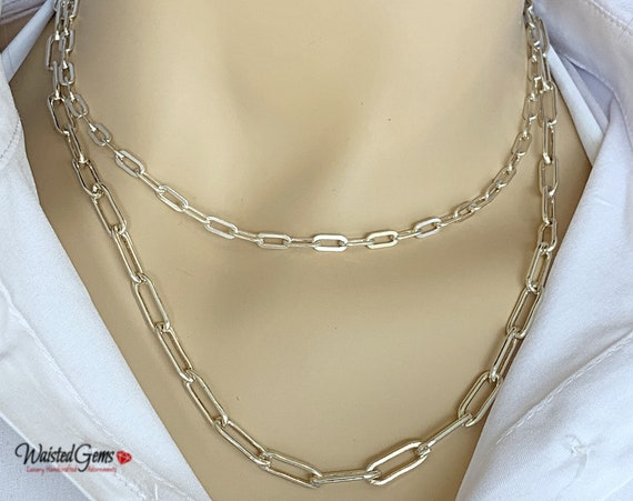 Sterling Silver Large Box Chain Necklace, Anchor Chain, Layering Chain, Milano link Chain, Link Chain, Sterling Silver Chain, Gifts for her