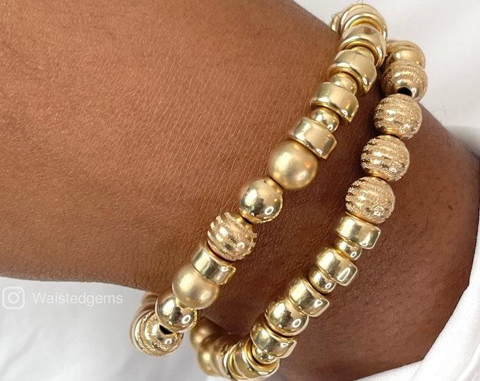 14k Gold Bracelet Set | 2 PC Bracelet Set | Handmade Beaded Bracelets | Gold Stretch Bracelet | Mothers Day Gifts, 14k Yellow Gold