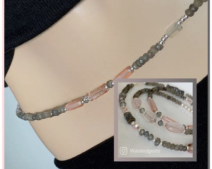 Solidity Waist Beads, Sterling Silver Waist Beads, Labradorite Waist Beads,Luxury, Gray Waist Beads, Rose Quartz, Moon Quartz, African Waist