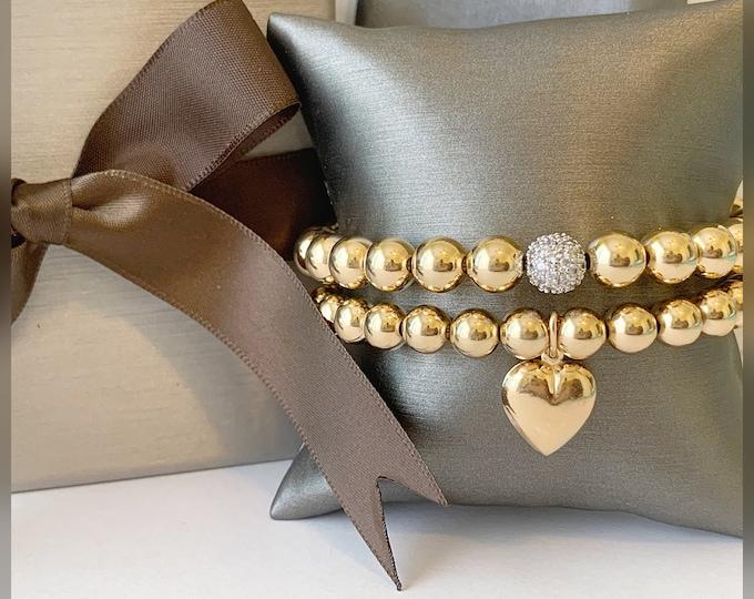 14k Heart Charm Beaded Bracelet, Designer Bracelets, Gold Beaded Bracelets, CZ Beaded Bracelet , Large Beaded Bracelets,