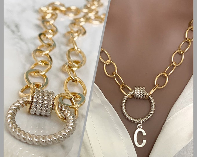 Gold Large Oval Link Chain w/ Twisted Carabiner Screw Lock, Large Link Necklace, Charm Necklace, Bold Necklace w/ Lock