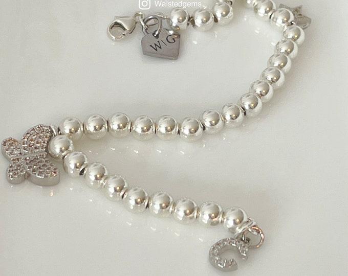 Silver Bead Chain Bracelet |  925 Bead Bracelet | Mother's Day Gift | Diamond Charm Bracelet | Silver Beaded Bracelet with Charms