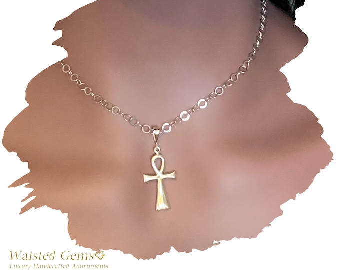 14k Gold Ankh Necklace, Charm Necklace, 14k White Gold Chain Necklace, White Gold Chain, Gift for her,14k White Ankh Pendant