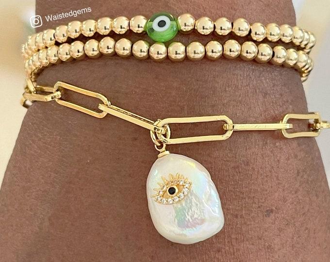 14k Paper Chip Chain Bracelet with Pearl Charm |  Paper Clip Chain Bracelet | Layering Chain | Gift for Her| Large Link Bracelet |