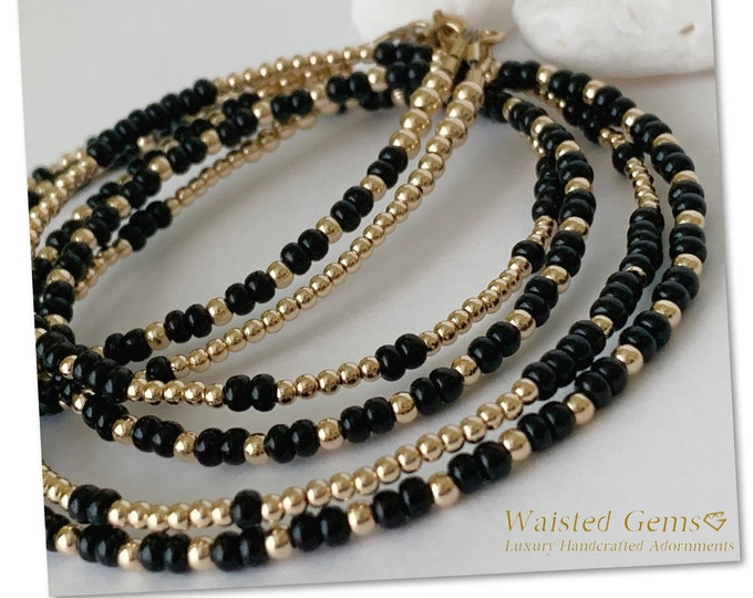 14k Gold and Black Double Strand Waist Beads, Belly Chain, Waistbeads w/ clasp, African Waist Beads,Gold Waist Beads,Boho Waist Beads,