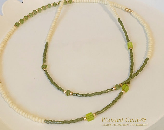 Peridot Waist Beads, Green Waist Beads,Crystal Waist Bead,African Waist Beads,14k Waist Beads,Waist Beads with Charms