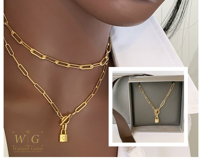 14k Dainty Toggle Clasp Lock Necklace, Lock Chain Necklace, Milano link Chain, Small Link Chain, Personalize Necklace