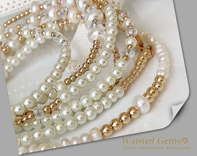 Diamonds and Pearls 14k Gold Waist Beads, African Waist Beads, Pearl and Gold Waist bead,Bride Waist Beads, gift for her  zmw2311-33