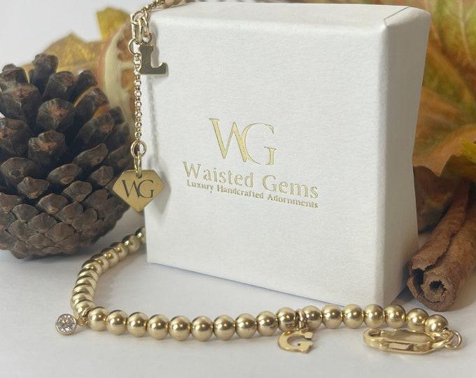 Gold Initial Beaded Bracelet | 14k Gold Beaded Bracelet | Mother's Day Gift | Gold Bracelet Set | 14k Yellow Gold | Initial Charm Bracelet