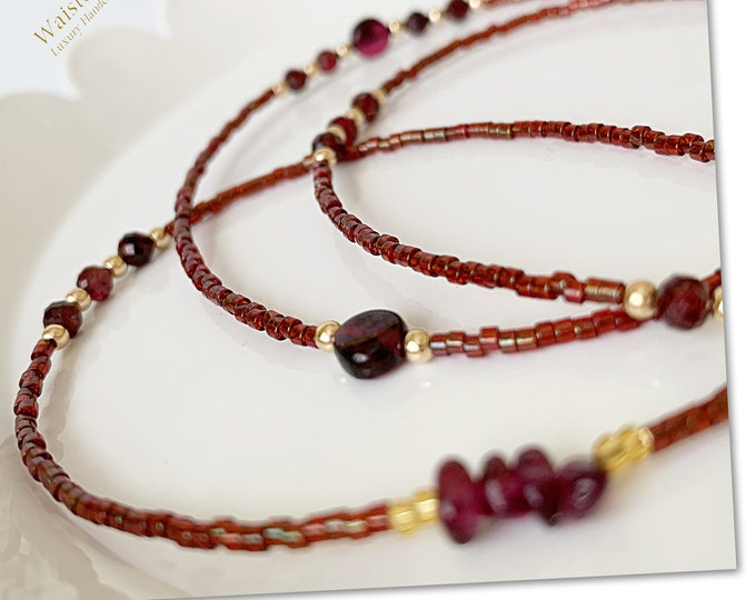 Cranberry Garnet Waist Beads, Waist Beads, Crystal Waist Bead, African Waist Beads, 14k Waist Beads,Waist Beads, Plus Size Waist Beads
