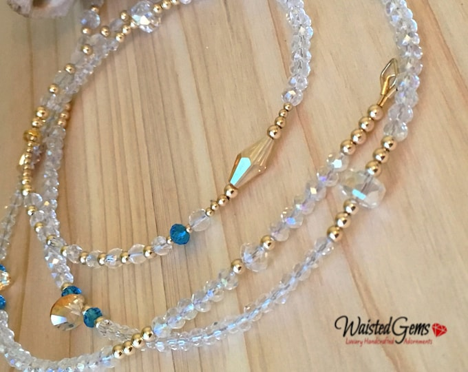 Crystal and 14k Gold Waist Beads, Wedding Gift, African Waist Beads, Waist Bead, 14k belly chain, Waistbeads, 14k gold waist beads,  zmw2311