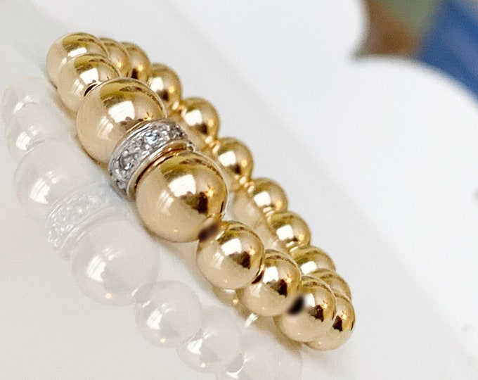 14k Diamond Beaded Ring, 14k Beaded Rings, Stackable Rings, Band Ring, Statement Rings, 14k Stretch Rings, 14k Pave Ring