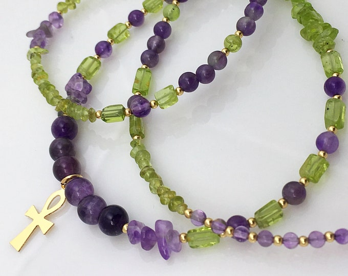 14k Peridot and Amethyst Waist Beads, Belly Chain, Waistbeads with clasp, African waist beads, August Birthstone, Boho Jewelry zmw4781