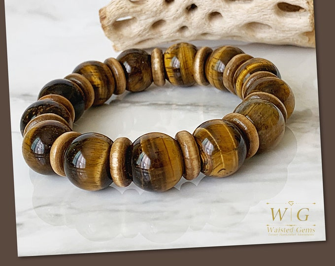 Tigers Eye and Wood 14mm Men Bracelet, Men gift ideas, Men Beaded Bracelets, Gifts for him, Large Bracelets for men, Statement Bracelet