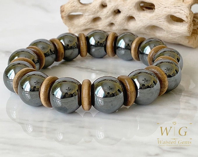 Hematite and Wood 14mm Men Bracelet, Men gift ideas, Men Beaded Bracelets, Hematite bracelets, Gifts for him, Large Bracelets for men