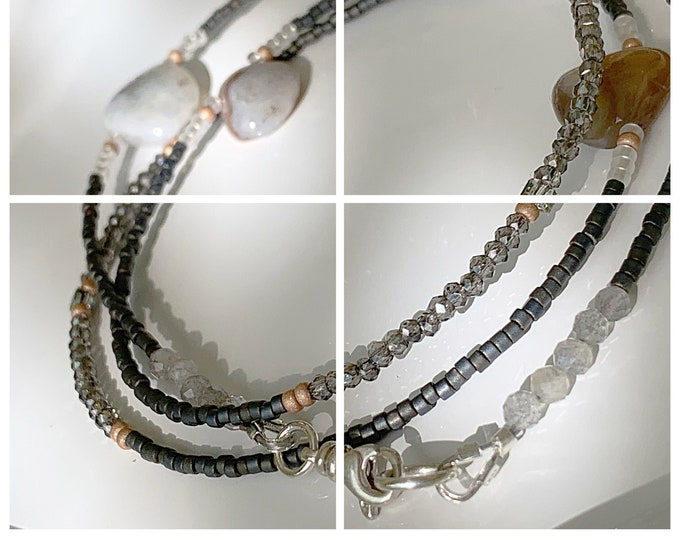 Night Life Waist Beads, Metallic Waist Beads, African Waist Beads, Gemstone Waist bead, Crystal Waist Beads, Grey Waist Beads