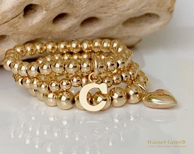 14k Initial Beaded Charm Rings, Crystal Rings, 14k Custom Rings, Stackable Rings, Band Ring, Letter Rings,14k Stretch Rings, Heart Ring,