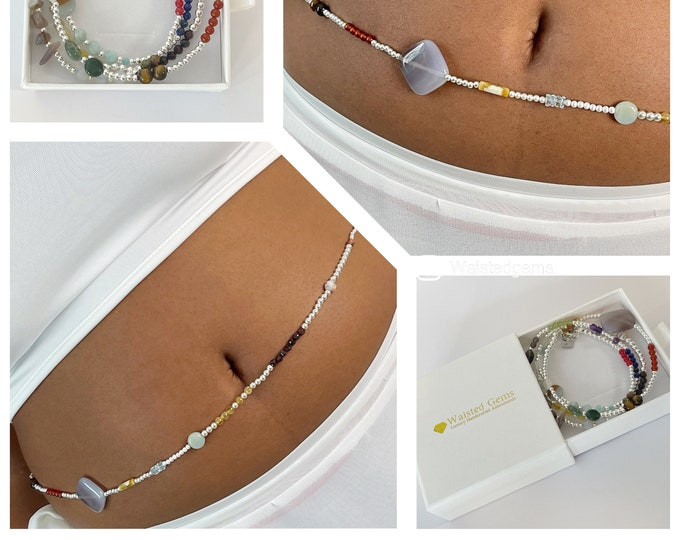 Sterling Silver Gems Waist Beads | African Waist Beads | Crystal Belly Chain | Charka Waist Beads | Luxury Gift | Silver Belly Chain