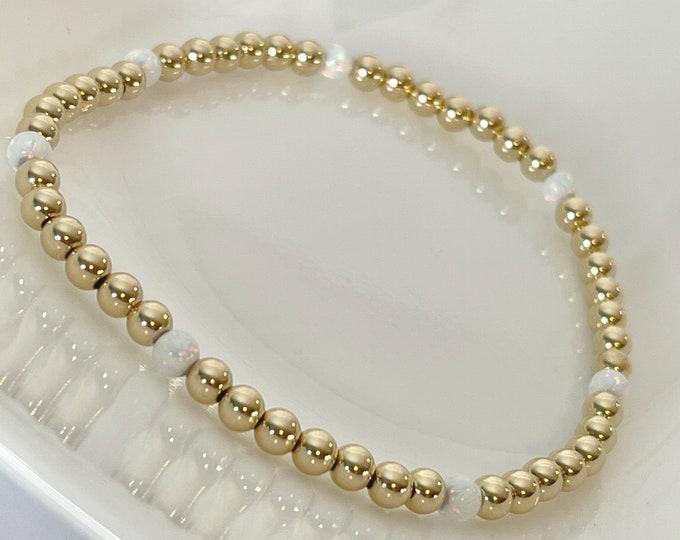 Opal 14K Yellow Gold Bead Bracelet   Yellow Gold Bracelet   October Birthstone Bracelet   Ethiopian Opal Gemstone Beaded Bracelet