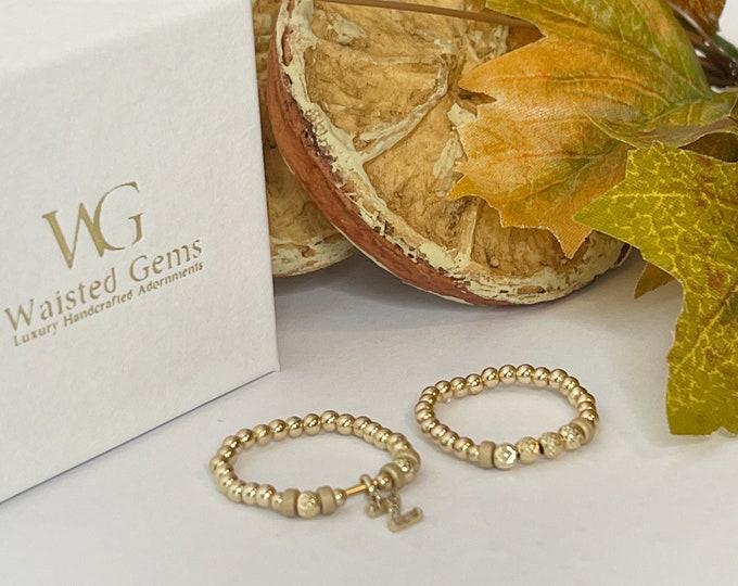 14k gold  Initial Beaded Rings   Diamond Ring   14k Custom Rings   Stackable Rings   Band Ring   Letter Rings   Gold Stretch Bead Rings