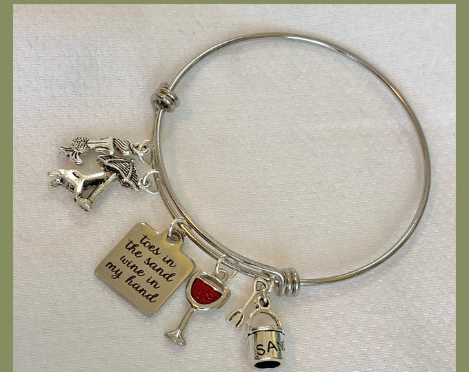 Toes in the Sand Wine in My Hand Twisted Adjustable Bangle, Charm Bracelet, Star Fish, Summer Party,Beach Chairs  zmw3341.9