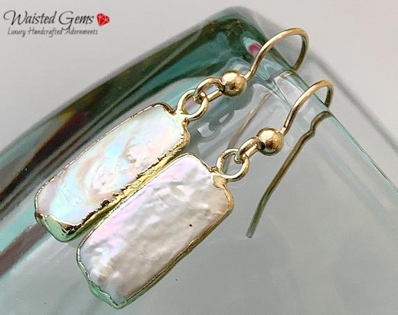 14k Biwa Pearl Dangle Earrings, Pearl Earrings, Crystal Earrings, Birthday Gift, Gifts for her, Dangle Earrings, Clip on earrings
