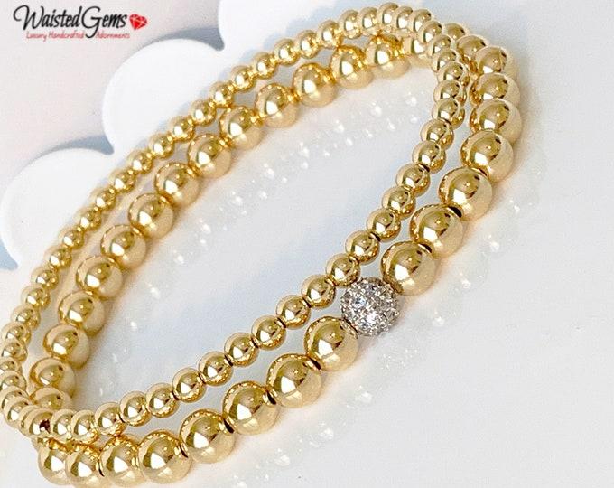 14K Gold Filled Beaded Bracelet Set, Stacking Bracelets, Rose Gold Beaded Bracelet, Silver Beaded Bracelet,Gold Beaded Bracelet for women