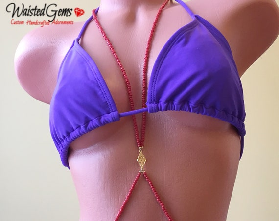 Cherry Pie Body Chain, Beaded Body Chain, Swim Suit Jewelry, Body Chain, Cross over Body Chain