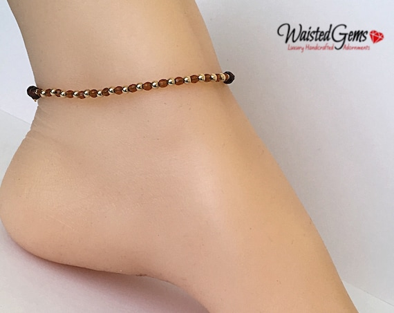 Harmony Anklet, Red Tiger 14k Gold Anklet, Tigers Eye Anklet, Gold Filled Anklet, Gold Filled Barefoot Sandal