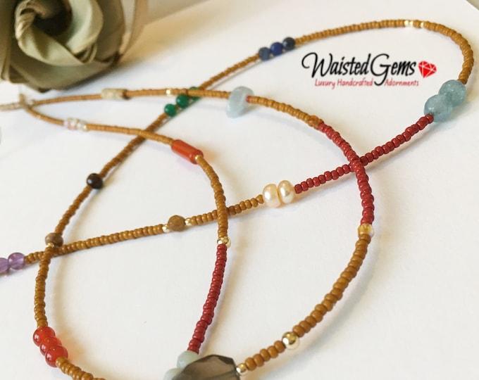 Pumpkin Pie, 14k Gold and Gemstone Waist Beads, African Waist Beads,Belly Chain, Brown Waist Beads, Gold Belly chain, Crystal Waist Beads