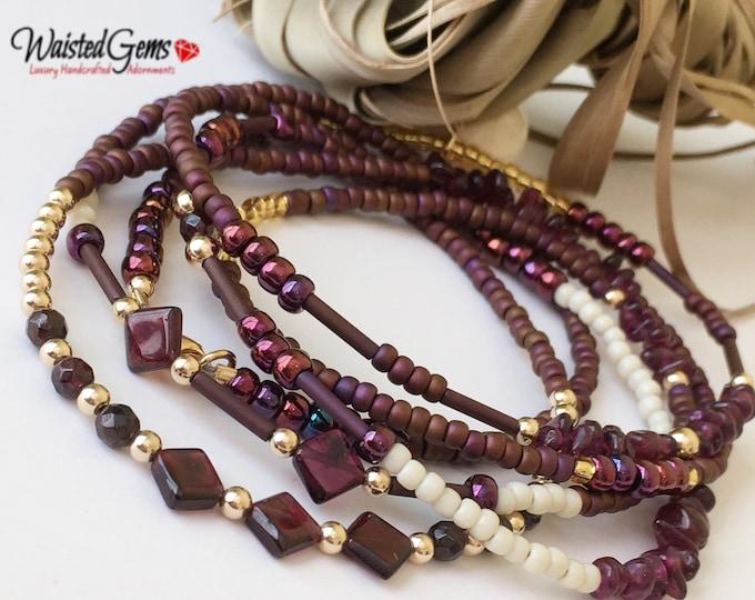 Garnet Gemstone 14k Gold Waistbeads , Crystal Waistbeads, African Waist Beads, 14k Gold, plus size, Gemstone Waist Beads