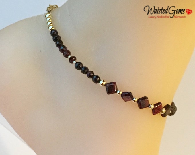 Illuminating Anklet, Gift for her, Garnet and Gold Anklet, Gemstone Anklet, Garnet Bracelet