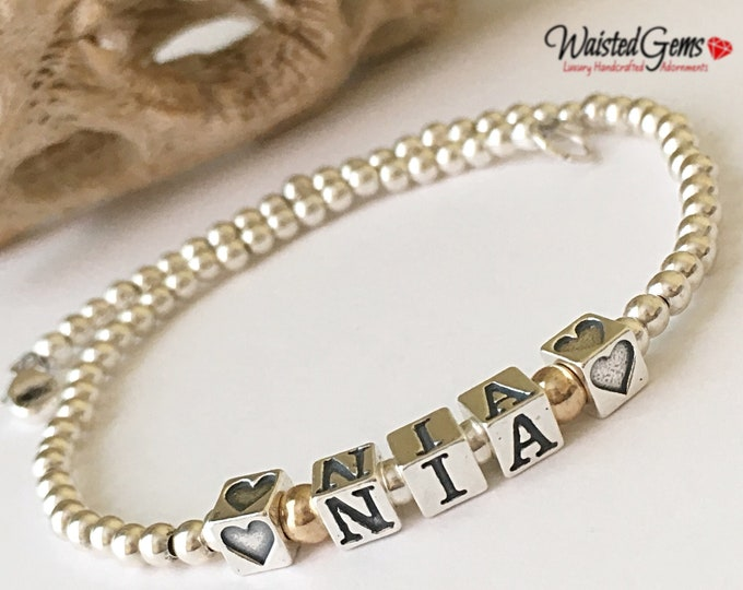 Sterling Silver Beaded Name Anklet, Custom Beaded Anklet, Sterling Silver Anklet, Name Bracelet,Mothers Day gift, Gifts for her, Boho Anklet