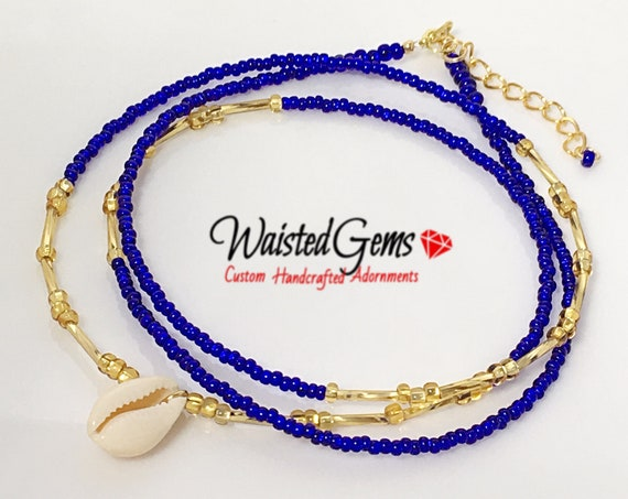 Royal Goddess Waist beads, Blue Waist beads, body chain, body Jewelry, Sexy Jewelry, African Waist Beads, Blue Bikini , zmw30.9