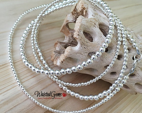 Sterling Silver Waist Beads, African Waist Beads, 925 Bead Necklace, Silver Belly Chain, gift for her, plus size waistbeads zmw2311-22