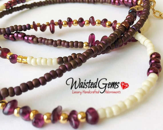 Capicorn Garnet Gemstone 14k Gold Waistbeads , waistbeads, waist beads, belly chain, necklace, zmw0994