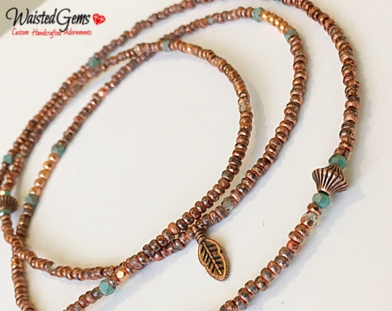 Elevated Energy Waist Beads, African Waist Beads, Copper Bead Necklace, Copper Belly Chain, plus size waistbeads zmw2311-82