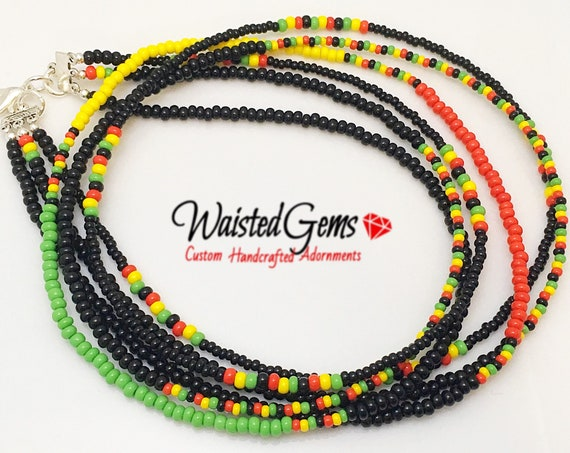 Rasta Triple Strand Waist Beads, Waistbeads, belly chains, Body Jewelry, Red Yellow and Green, belly beads, African Waist Beads  zmw55642