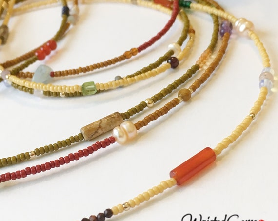 Sweet and Savory Triple Strand Gemstone Waist Beads , Waist Beads, African Waist Beads,Belly Chain, Waist Bead Set, Crystal Waist Beads
