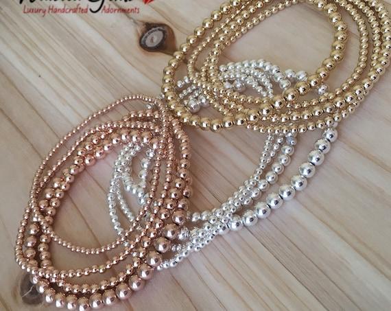 14K Gold Filled Beaded Bracelet, Beaded Bracelet Set, Stacking Bracelets, Stretch Bracelet, Jewelry, Silver Bracelet, Boho Jewelry,