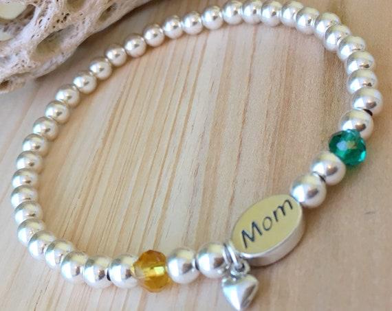 Mom Bracelet, Sterling Silver Mothers Day Beaded Bracelet, Name Bracelet, Mothers Day gift, Gifts for her