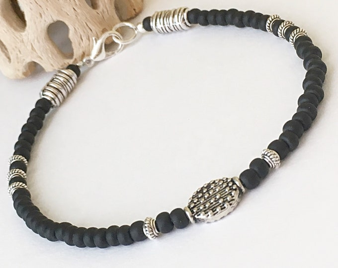 Black Matte and Silver Anklet, Silver Anklet, Black Anklet