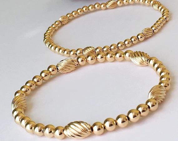 Gold Beaded Bracelet, 14k Gold Filled Beaded Bracelet, Stacking Bracelets, Stretch Bracelet, Jewelry, Silver Bracelet, Boho Jewelry