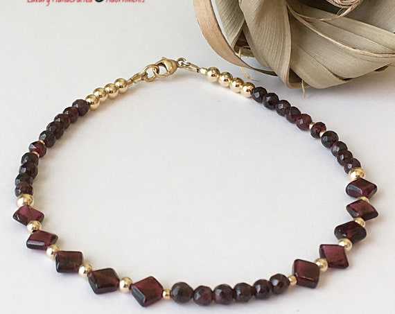 Illuminating Anklet, Gift for her, Garnet and Gold Anklet, Gemstone Anklet, Garnet Bracelet