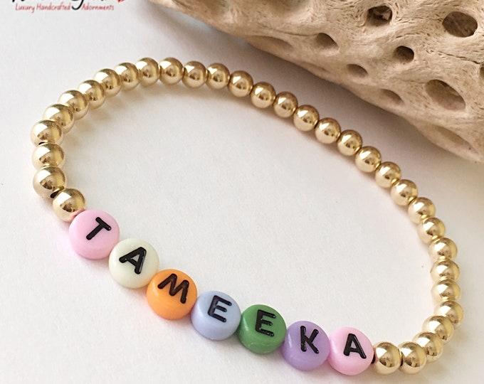 14k Gold Name Bracelet, 14k Gold Filled Custom Beaded Bracelet, Name Jewelry, Mothers Day gift, Stack Bracelets, Name Bracelet
