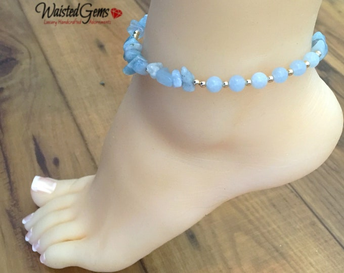 Fearless Aquamarine Gemstone Anklet, March Waistbeads , Aquarius Birthday, Crystal Anklet, Anklet chain, Gift Ideas, Anklet zmw777