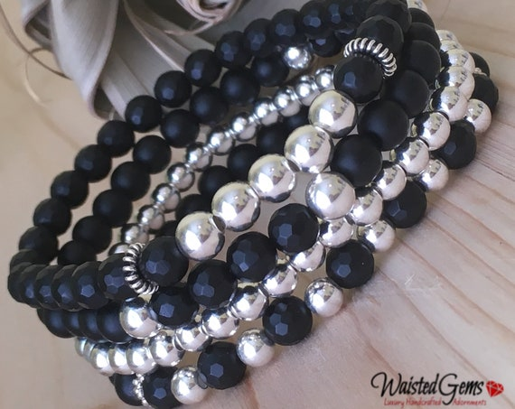 Sterling Silver and Onyx Beaded Bracelet, Beaded Bracelet Set, Stacking Bracelets, Stretch Bracelet, Jewelry, Silver Bracelet, Boho Jewelry