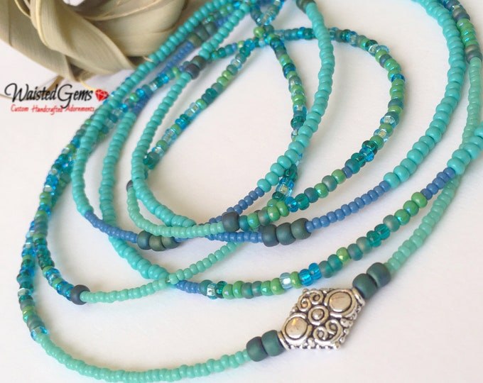Ocean Breeze Double Strand Waist Bead Set, Waist Beads, WaistBeads, Belly Chain, African Waist Beads, Plus Size Waist Beads